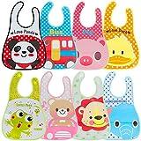 Lictin 8 Stück Baby Bib Set Babylätzchen Wasserdicht Lätzchen Unisex Baby Lätzchen Set für Baby 6-36 Monaten